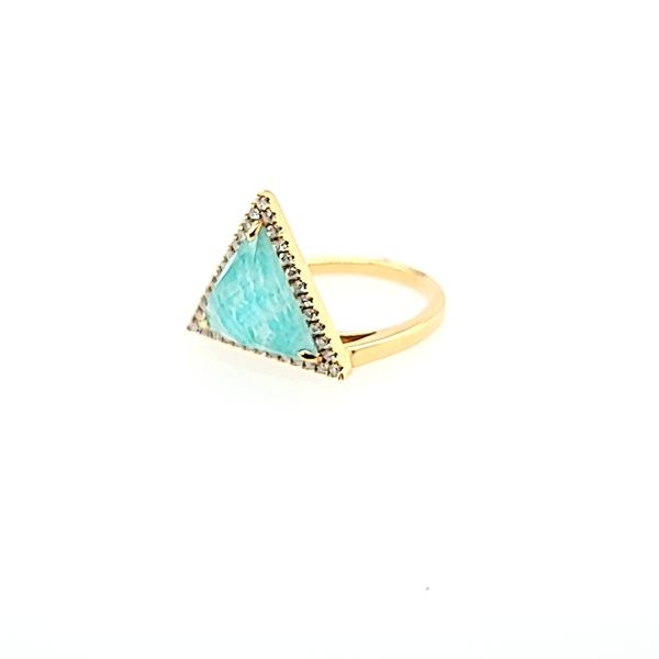 Yellow Gold Amazonite Diamond Ring Saxon's Fine Jewelers Bend, OR