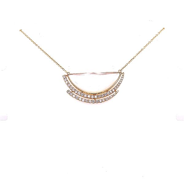 Doves 18 Karat Yellow Gold Diamond Mother of Pearl and Quartz Necklace 18 Inches Saxon's Fine Jewelers Bend, OR