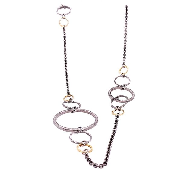 Armenta 18 Karat Grey/ Silver Textured Circle Link Necklace Image 2 Saxon's Fine Jewelers Bend, OR