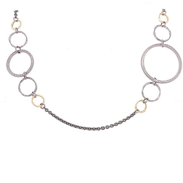 Armenta 18 Karat Grey/ Silver Textured Circle Link Necklace Saxon's Fine Jewelers Bend, OR