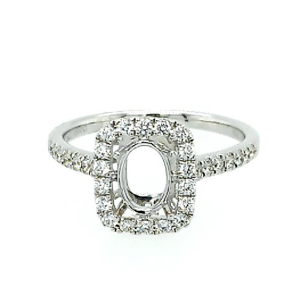Saxons White Gold Square Diamond Halo Semi-Mount Saxons Fine Jewelers Bend, OR