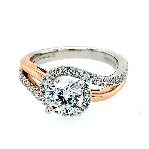 14K White-Rose Gold Round Halo Diamond Engagement Semi Mount Ring (0.29ct) Saxon's Fine Jewelers Bend, OR