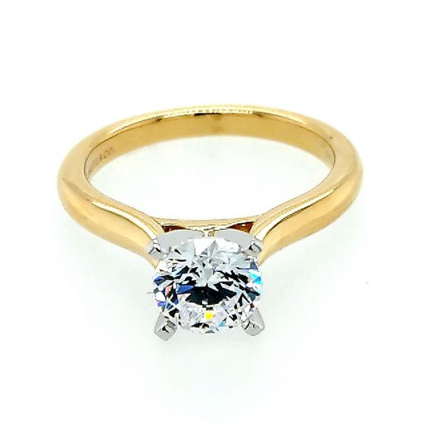 Gabriel & Co. 14K White-Yellow Gold Round Diamond Engagement Semi Mount Ring Saxon's Fine Jewelers Bend, OR