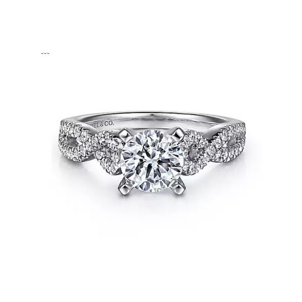14K White Gold Round Twisted Diamond Engagement Semi Mount Ring (0.37ct) Saxons Fine Jewelers Bend, OR