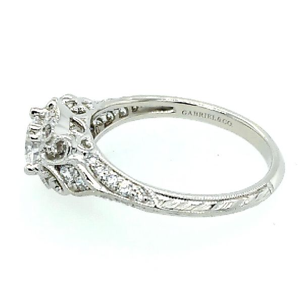 Gabriel & Co. Unique 14K White Gold Vintage Inspired Diamond Halo Engagement Semi Mount Ring (0.30ct) Image 2 Saxon's Fine Jewelers Bend, OR