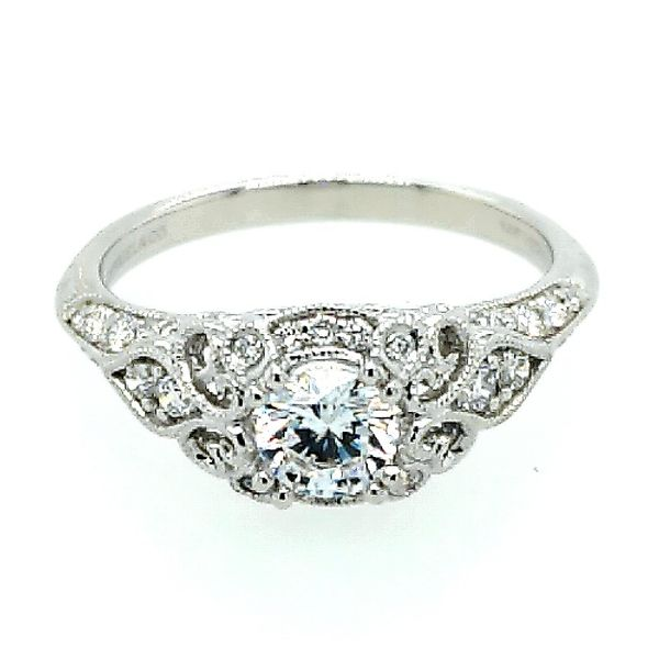 Gabriel & Co. Unique 14K White Gold Vintage Inspired Diamond Halo Engagement Semi Mount Ring (0.30ct) Saxon's Fine Jewelers Bend, OR
