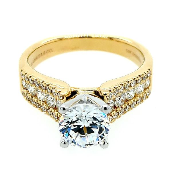 Gabriel & Co. 14K Yellow Gold Round Diamond Wide Band Engagement Semi Mount Ring (0.49ct) Saxon's Fine Jewelers Bend, OR