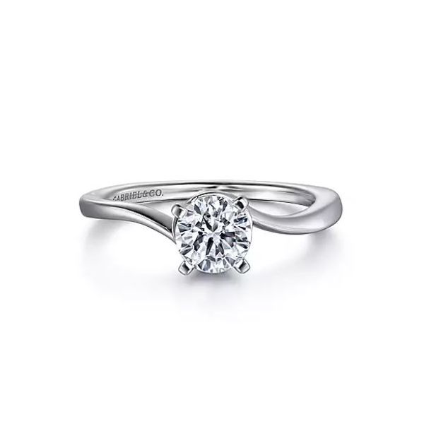 Gabriel & Co. 14K White Gold Round Diamond Engagement Semi Mount Ring Saxon's Fine Jewelers Bend, OR