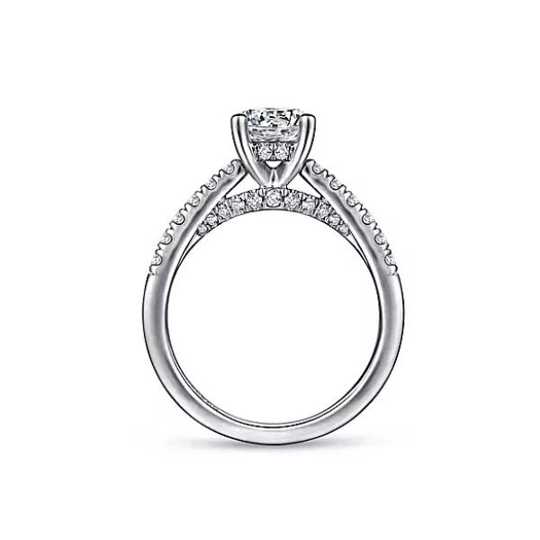 14K White Gold Round Diamond Engagement Semi Mount Ring (0.42ct) Image 2 Saxon's Fine Jewelers Bend, OR