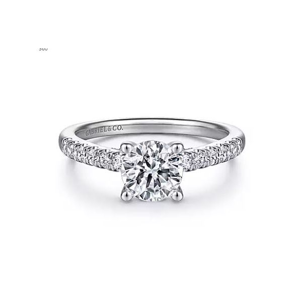 14K White Gold Round Diamond Engagement Semi Mount Ring (0.42ct) Saxon's Fine Jewelers Bend, OR
