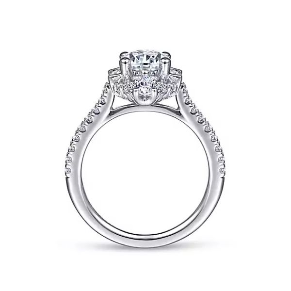 Gabriel & Co Unique 14K White Gold Art Deco Halo Diamond Engagement Semi Mount Ring (0.68ct) Image 2 Saxons Fine Jewelers Bend, OR