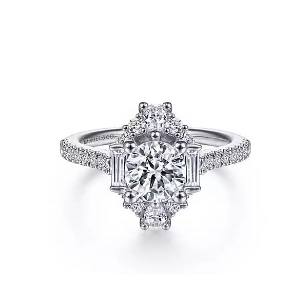 Gabriel & Co Unique 14K White Gold Art Deco Halo Diamond Engagement Semi Mount Ring (0.68ct) Saxons Fine Jewelers Bend, OR