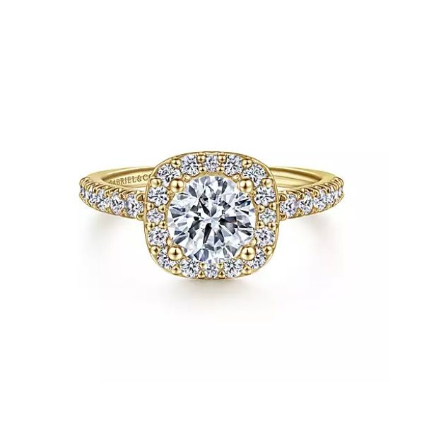 14K Yellow Gold Cushion Halo Round Diamond Engagement Semi Mount Ring Saxon's Fine Jewelers Bend, OR