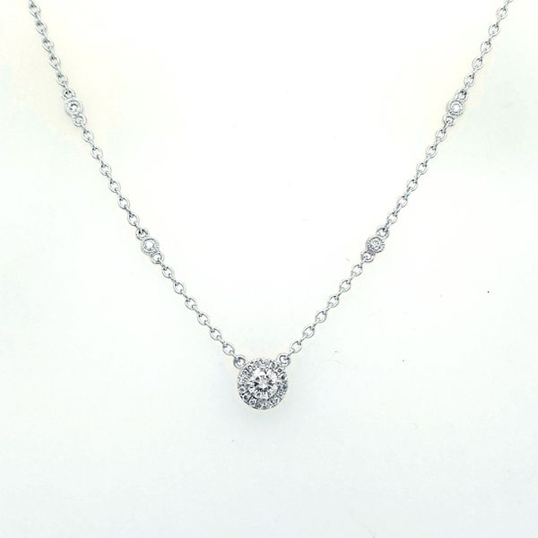 White Gold Round and Pear Diamond Pendant Saxon's Fine Jewelers Bend, OR