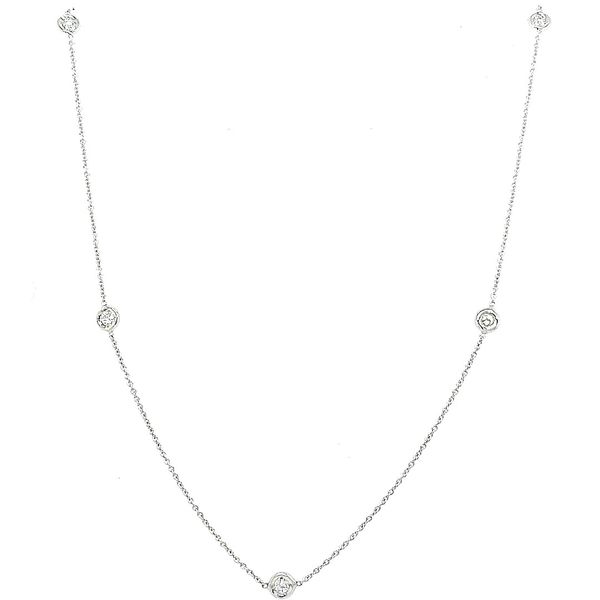 Roberto Coin 18 Karat White Gold 5 Diamond Station Necklace Saxon's Fine Jewelers Bend, OR
