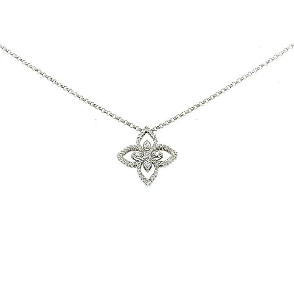 Roberto Coin 18 Karat White Gold Diamond Principessa Flower Necklace Saxon's Fine Jewelers Bend, OR
