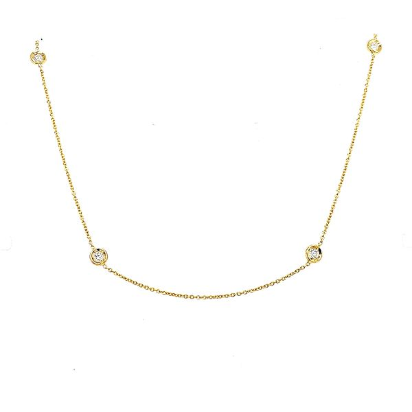 Roberto Coin 18 Karat Yellow Gold 7 Diamond Station Necklace Saxon's Fine Jewelers Bend, OR