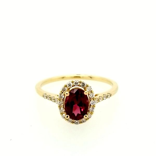 Yellow Gold Garnet and Diamond Ring Saxons Fine Jewelers Bend, OR