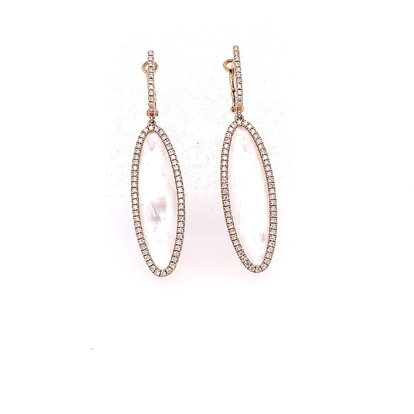 Mother of Pearl and Diamond Drop Earrings Saxon's Fine Jewelers Bend, OR