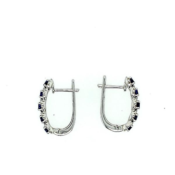Saxons 14 Karat White Gold Diamond Sapphire Earrings Image 2 Saxons Fine Jewelers Bend, OR