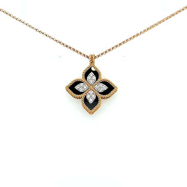 Roberto Coin 18 Karat Rose Gold/ White Gold/ Black Jade Diamond Princess Flower Necklace Saxons Fine Jewelers Bend, OR