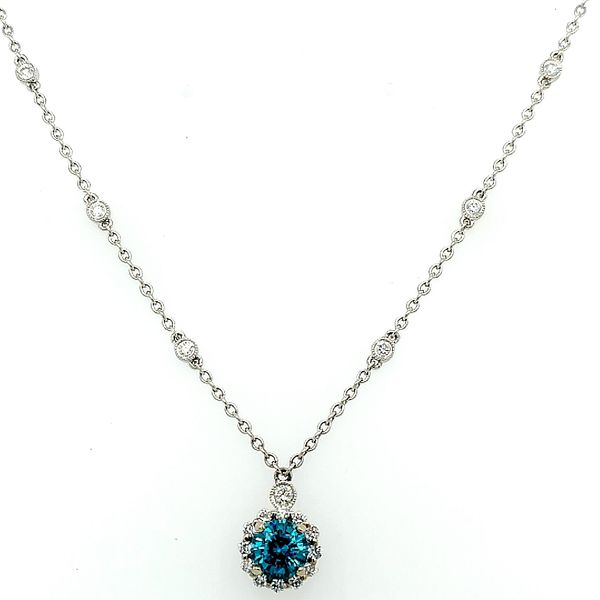 Saxons Blue Zircon Diamond Necklace Saxons Fine Jewelers Bend, OR