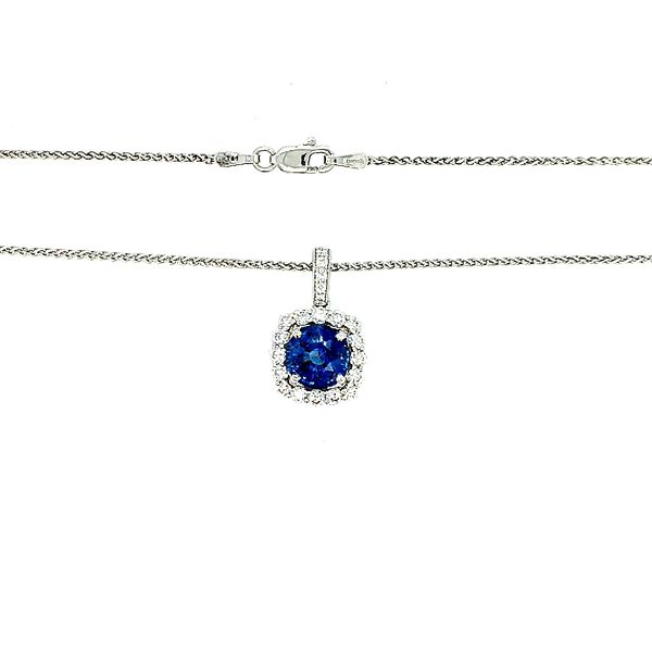Saxons Sapphire Diamond Pendant Necklace Saxons Fine Jewelers Bend, OR