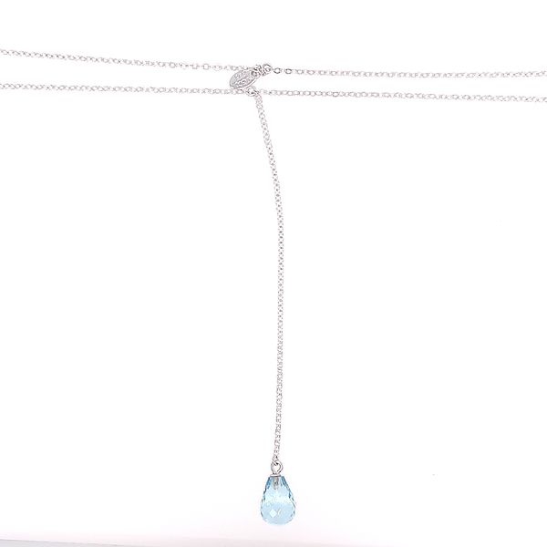 Silver Blue Topaz Drop Necklace Image 2 Saxon's Fine Jewelers Bend, OR