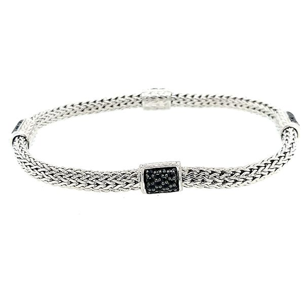 John Hardy Silver Lava Four Station Chain Black Sapphire Bracelet Saxon's Fine Jewelers Bend, OR