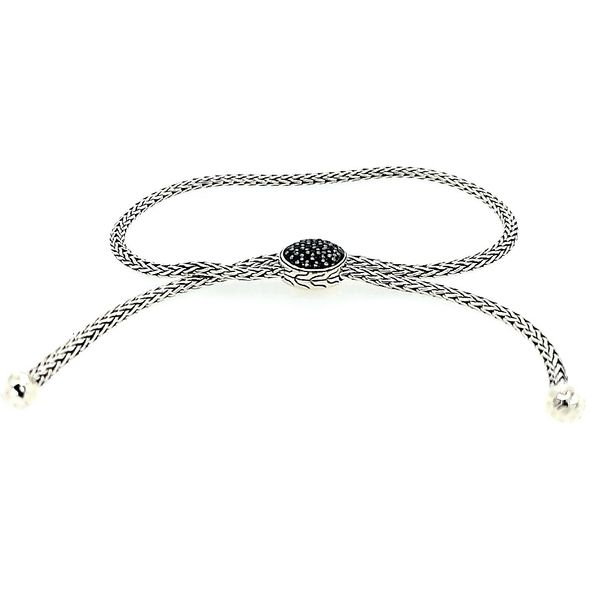 John Hardy Silver Pull Through Black Spinel Bracelet Adjustable Saxon's Fine Jewelers Bend, OR