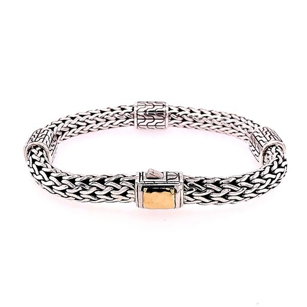 John Hardy 18 Karat Yellow Gold Classic Chain Hammered 4 Station Bracelet Saxon's Fine Jewelers Bend, OR