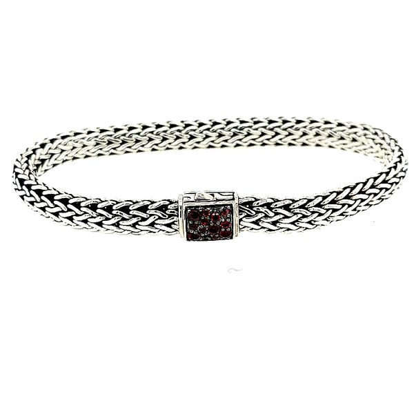 John Hardy Sterling Silver Black Sapphire/ Garnet Classic Chain Small Reversible Bracelet Saxon's Fine Jewelers Bend, OR