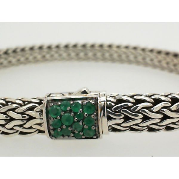 John Hardy Sterling Silver Black Sapphire/ Emerald Classic Chain Small Reversible Image 2 Saxon's Fine Jewelers Bend, OR