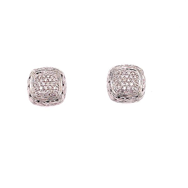 John Hardy Silver Classic Chain Diamond Pave Small Square Earrings Saxon's Fine Jewelers Bend, OR