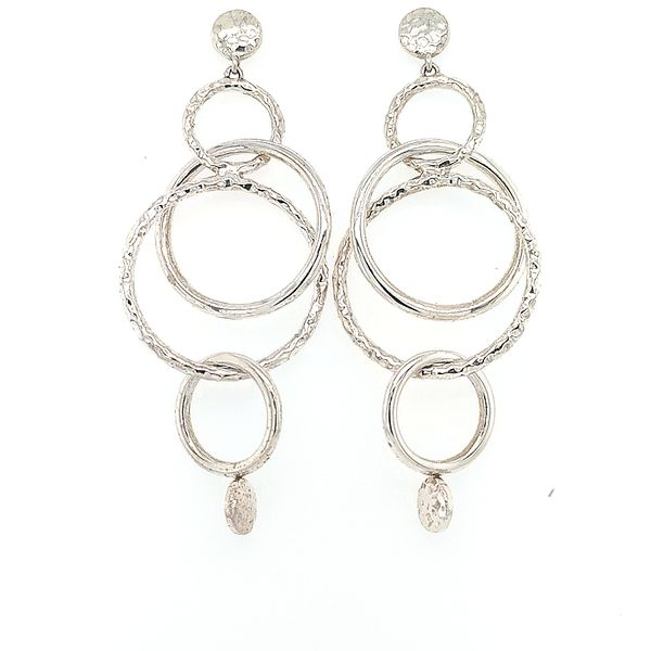 John Hardy Silver Hammered Orbital Long Drop Earrings Saxon's Fine Jewelers Bend, OR