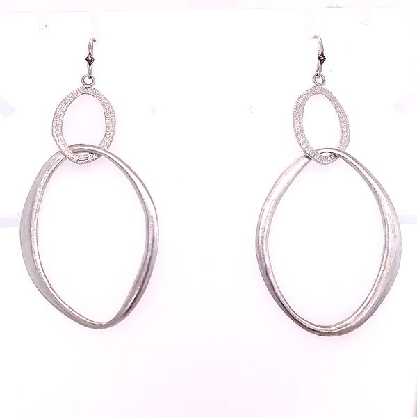 Armenta Sterling Silver 18 Karat White Gold New World Double Oval Crivelli Hook Champagne Diamond Earrings Saxon's Fine Jewelers Bend, OR