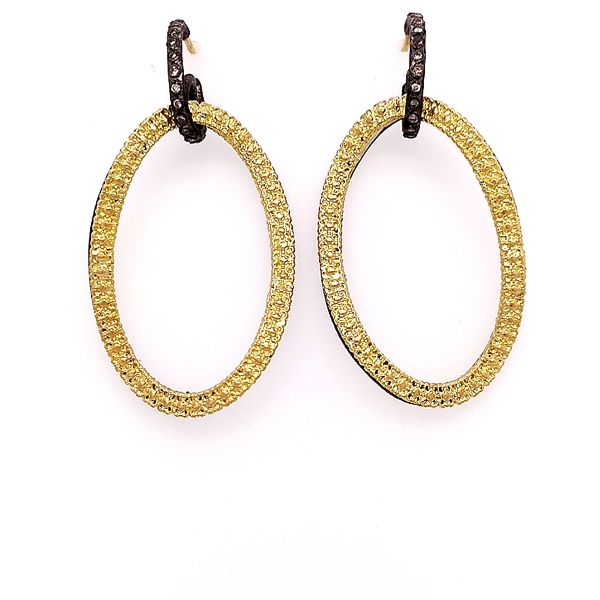 Armenta 18 Karat Yellow Gold Balckened Silver Open Circle-Link Earrings Saxon's Fine Jewelers Bend, OR