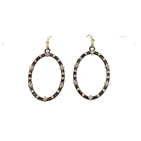 Armenta 18 Karat Yellow Gold Blackened Silver Champagne Earrings Saxons Fine Jewelers Bend, OR