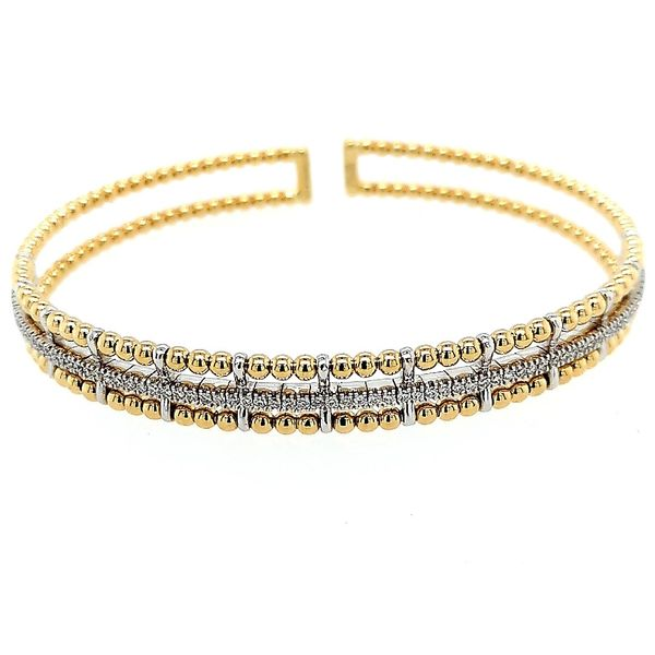 Gabriel & Co 14K Yellow and White Gold Bujukan Bead Cuff Bracelet with Inner Diamond Channel (0.38ct) Saxon's Fine Jewelers Bend, OR