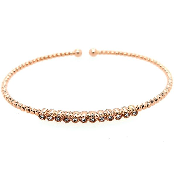 Gabriel & Co. 14K Rose Gold Bujukan Bead Cuff Bracelet with Bezel Set Diamond Stations Saxon's Fine Jewelers Bend, OR