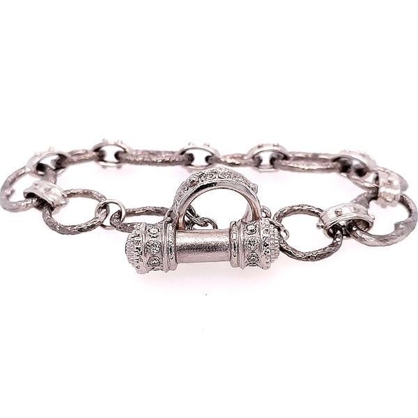 Armenta Sterling Silver Oval Link Sapphire and Champagne Diamond Bracelet Saxon's Fine Jewelers Bend, OR