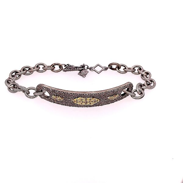 Armenta 18 Karat Yellow Gold Blackened Silver ID Bracelet Image 2 Saxons Fine Jewelers Bend, OR