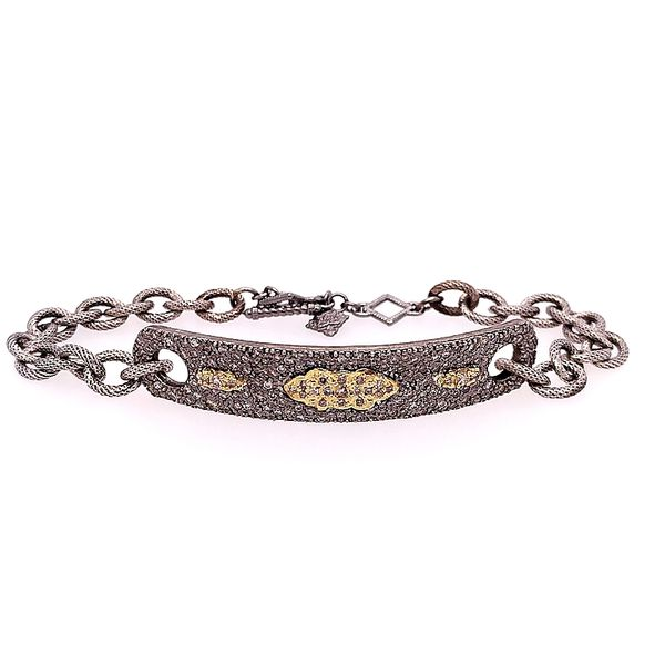 Armenta 18 Karat Yellow Gold Blackened Silver ID Bracelet Saxons Fine Jewelers Bend, OR