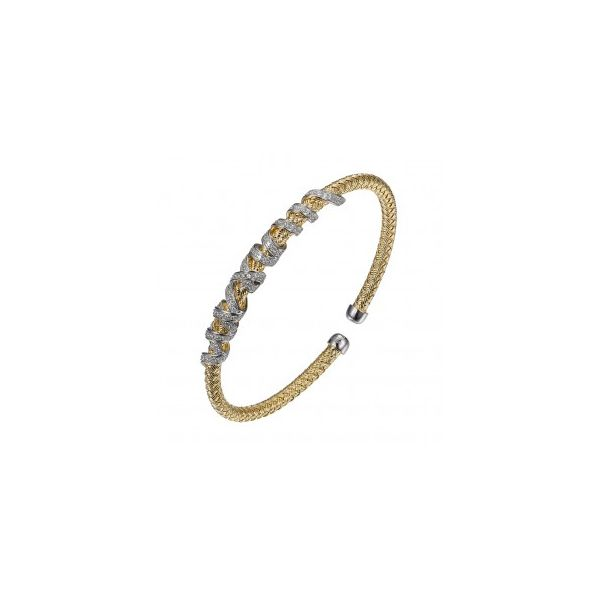 Bracelet CZ Wraps Sterling Silver  Two Tone, 18K Yellow Gold And Rhodium Finish Mesh Cuff Seita Jewelers Tarentum, PA