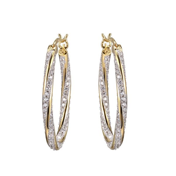 Sterling Silver and Two Tone 18K Yellow Gold and Rhodium Finish Oval Hoop Earrings Seita Jewelers Tarentum, PA