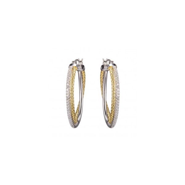 Sterling Silver / Two Tone 18K Yellow Gold and Rhodium Finish Oval Hoop Earrings Seita Jewelers Tarentum, PA