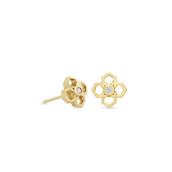 14k Yellow Gold Plated Stud Earrings with CZs Seita Jewelers Tarentum, PA
