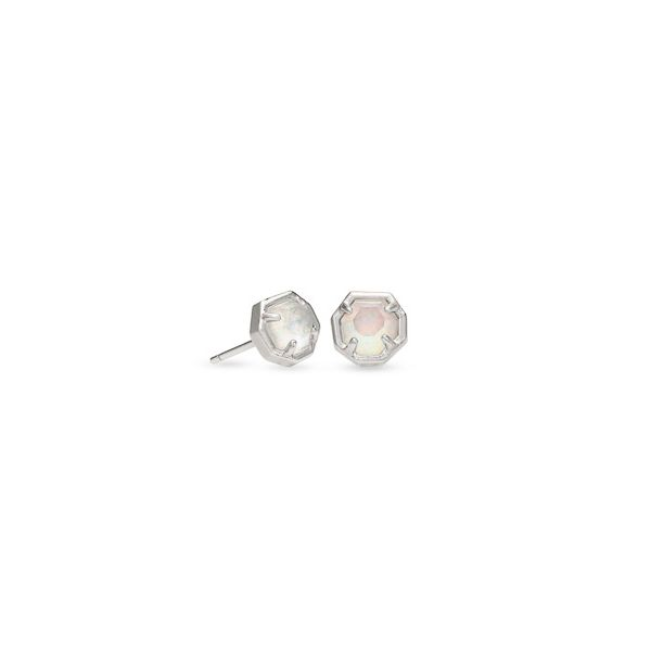 Nola - Rhodium Plated Stud Earrings In White Kyocera Opal Illusion Seita Jewelers Tarentum, PA