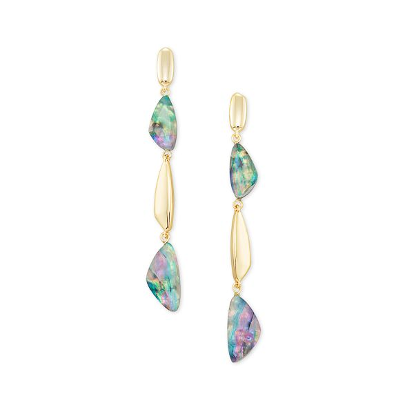 Ivy - Gold Plated Linear Earrings In Lilac Abalone Seita Jewelers Tarentum, PA