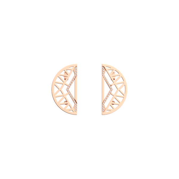 Rose Gold Finish 30mm Half Moon Earrings Seita Jewelers Tarentum, PA